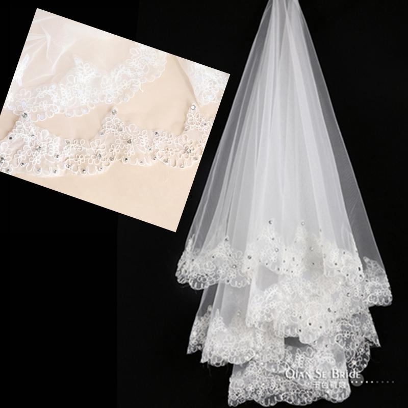 Свадебная фата Фата для новобрачных тонкий кружева цветы Супер длинные сверла Новый корейский свадебное платье Аксессуары