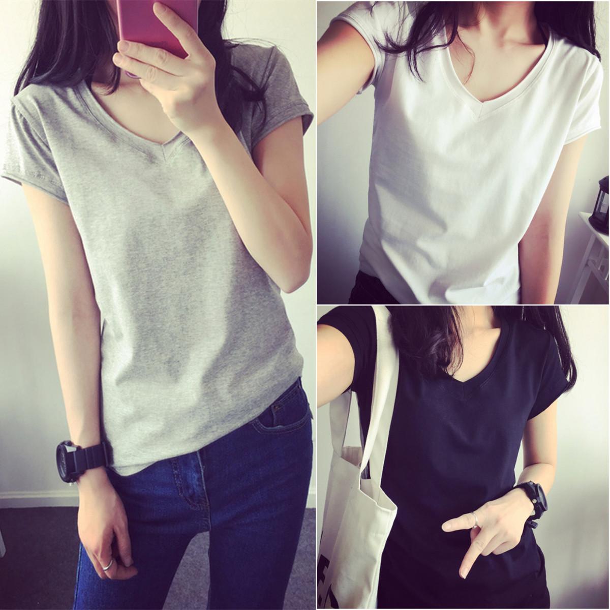 朵仙蔻2018夏季新款短袖女修身半袖显瘦V领韩版学生纯色T恤上衣女