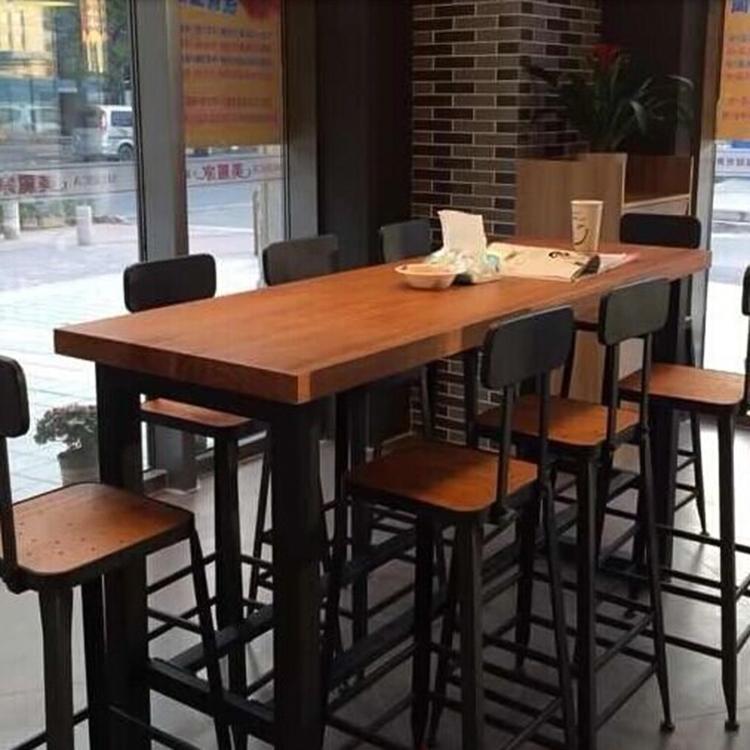 LOFT鐵藝星巴克桌椅吧台椅實木前台高腳椅酒吧餐桌咖啡廳皮革吧凳