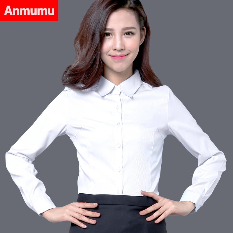 韓棉春秋白襯衫女長袖職業加絨V領修身工作服正裝大碼襯衣女裝ol