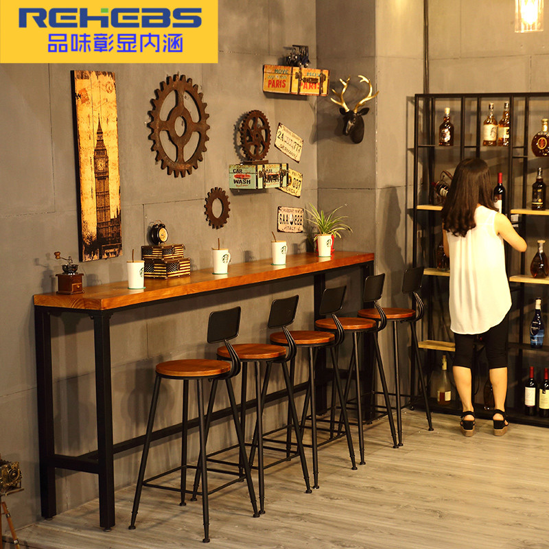 Rehebs 咖啡廳酒吧實木長吧台桌家用靠牆吧桌窗邊吧台高腳桌椅