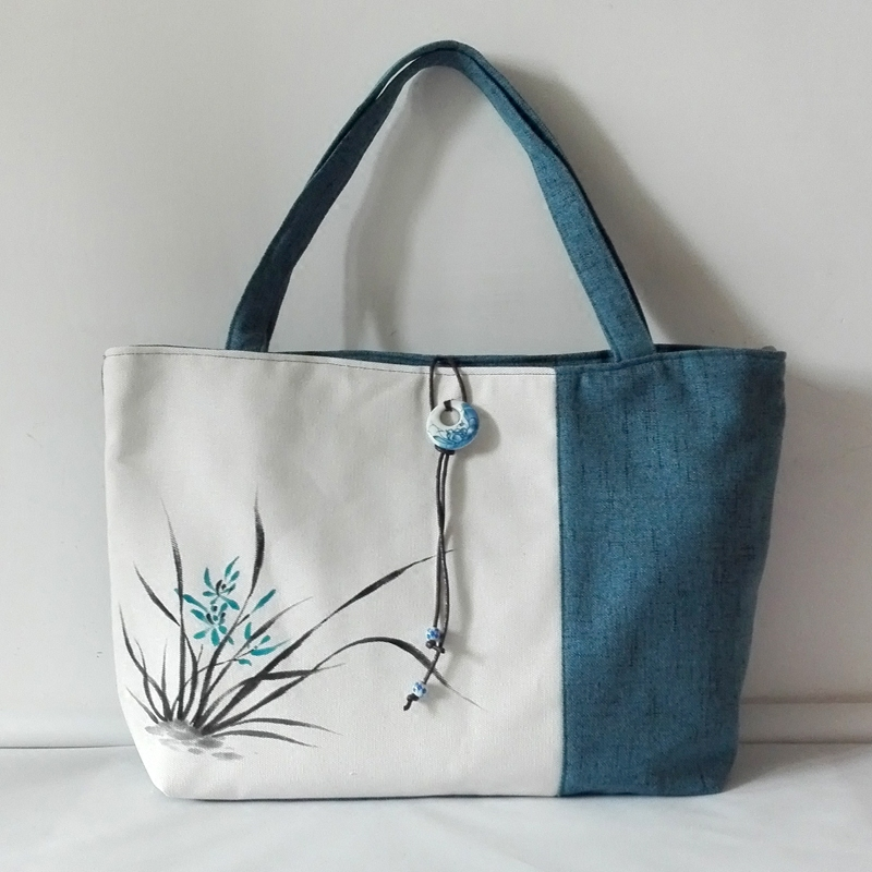 Hand painted Chinese style canvas bag womens bag cotton hemp single shoulder bag large capacity literature retro forest womens bag