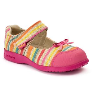 pediped派迪派 Flex 2-7岁 女童 浅口帆布蝴蝶结彩虹条纹休闲鞋