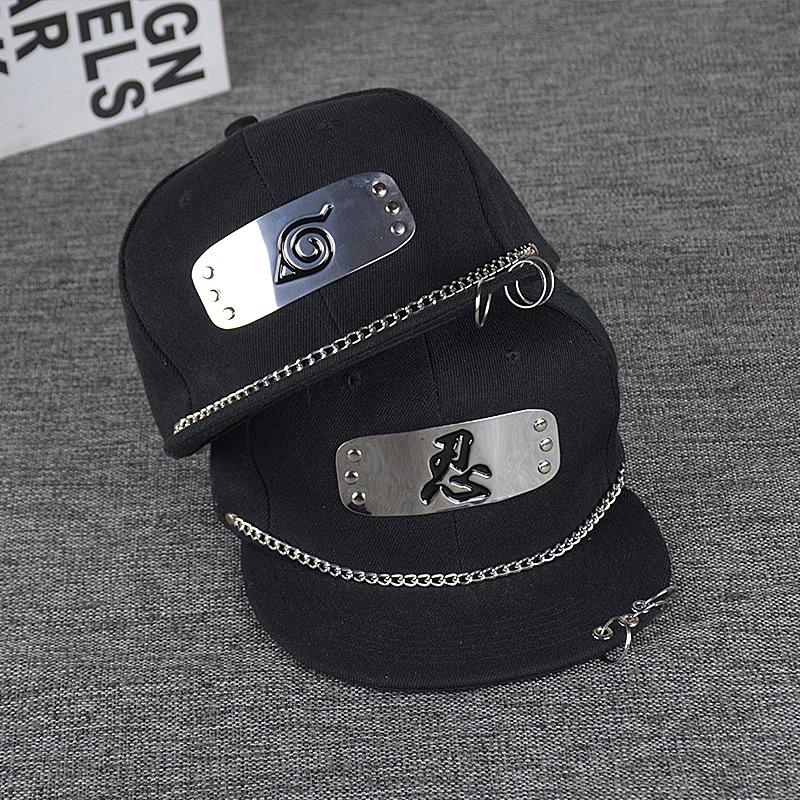 New spring and summer punk iron ring flat edge baseball hip hop writing wheel hat Naruto anime hat