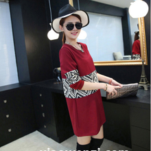 2015 autumn outfit maternity national wind stitching color long sleeve long skirt pregnant women render unlined upper garment of pregnant women dress