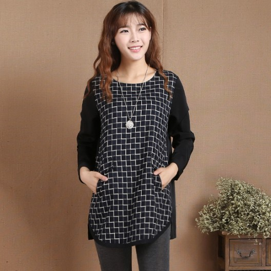2017 spring clothes Xi Yinhe genuine Korean fashion loose casual large size slim check Round Neck Shirt Top