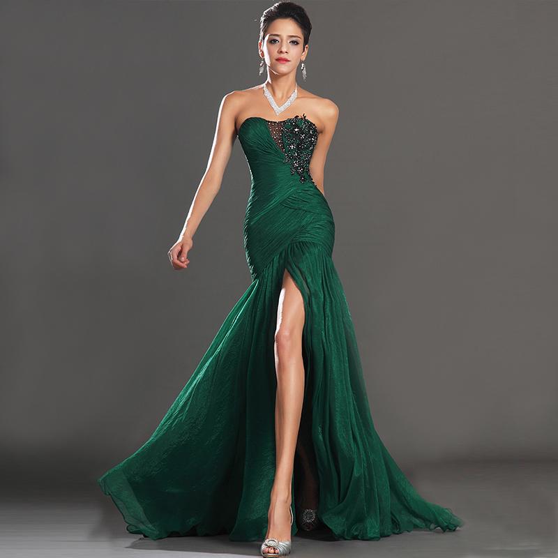 Новая Европа 2015, тонкий вечернее платье зеленый сексуальный элегантный шифон длинный замыкающий тост рыбий хвост платье