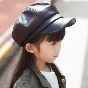 韩版春秋儿童八角帽PU女童鸭舌帽春季宝宝贝雷帽子男潮皮军帽亲子