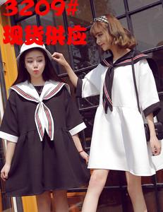 3209#宽松娃娃款水手雪纺连衣裙女夏韩国东大门学院风海军风大翻