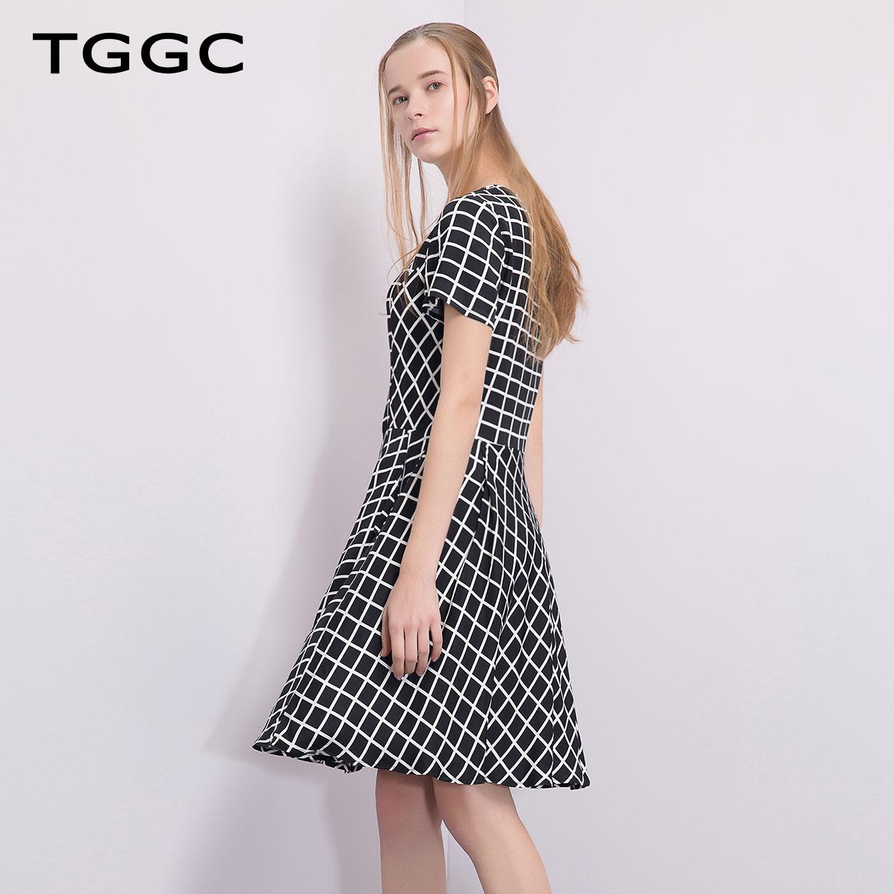 TGGC 2018年夏装 通勤OL高腰修身显瘦黑白格短袖连衣裙女 F20538