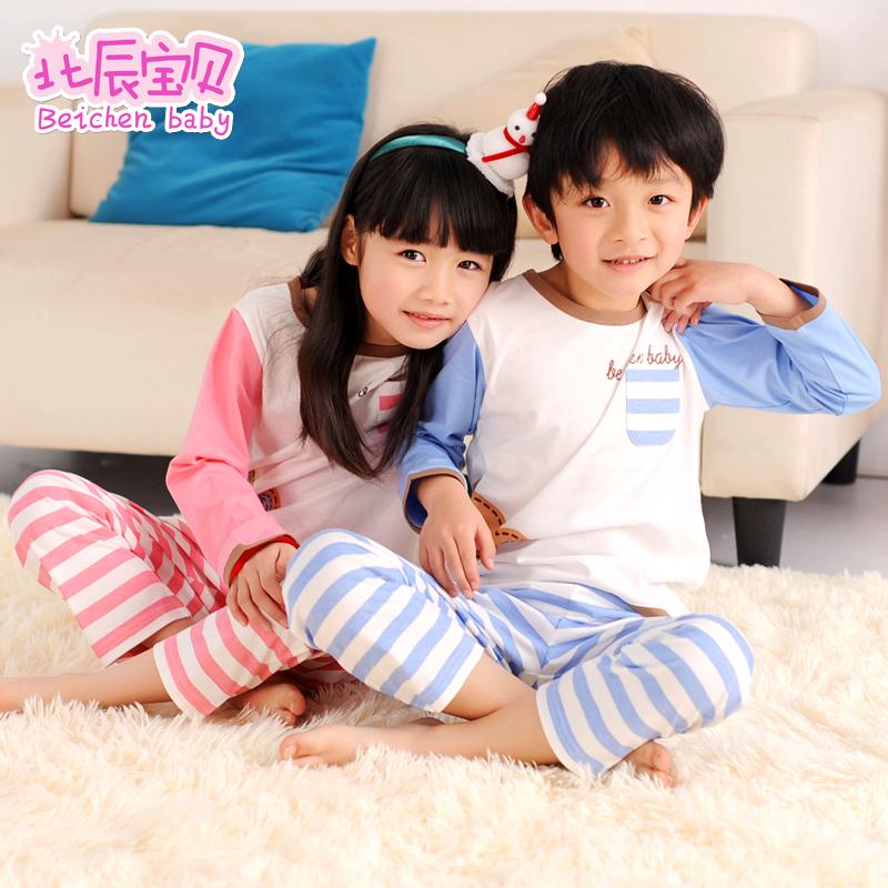 兒童睡衣 女童男孩純棉長袖家居服 男童睡衣小孩女孩大童睡衣春秋