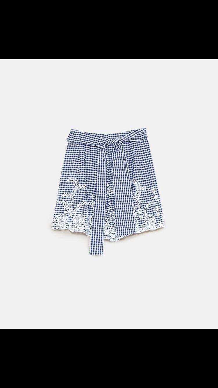 ZARA纯棉格子刺绣短裤 全新有吊牌!