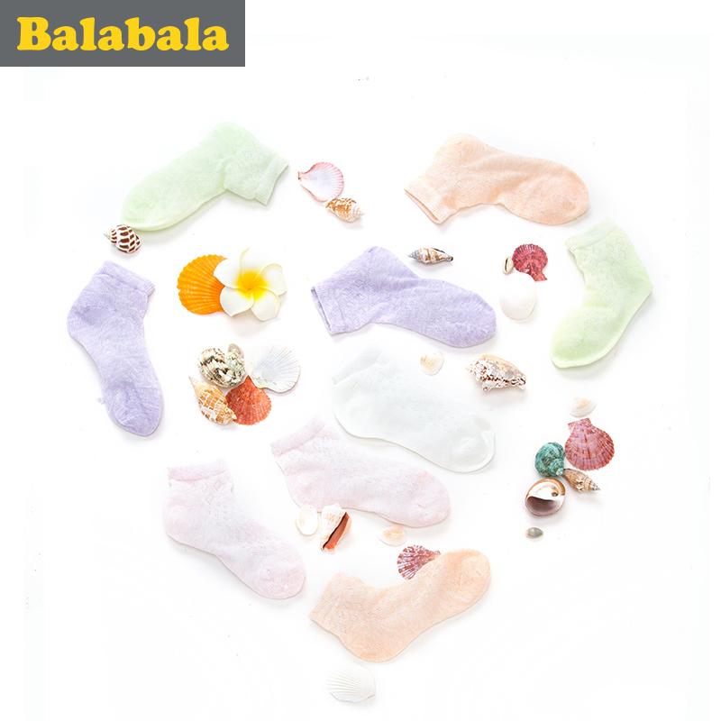 巴拉巴拉女童襪子 透氣網眼短襪2016 薄款多色兒童襪子 5雙裝