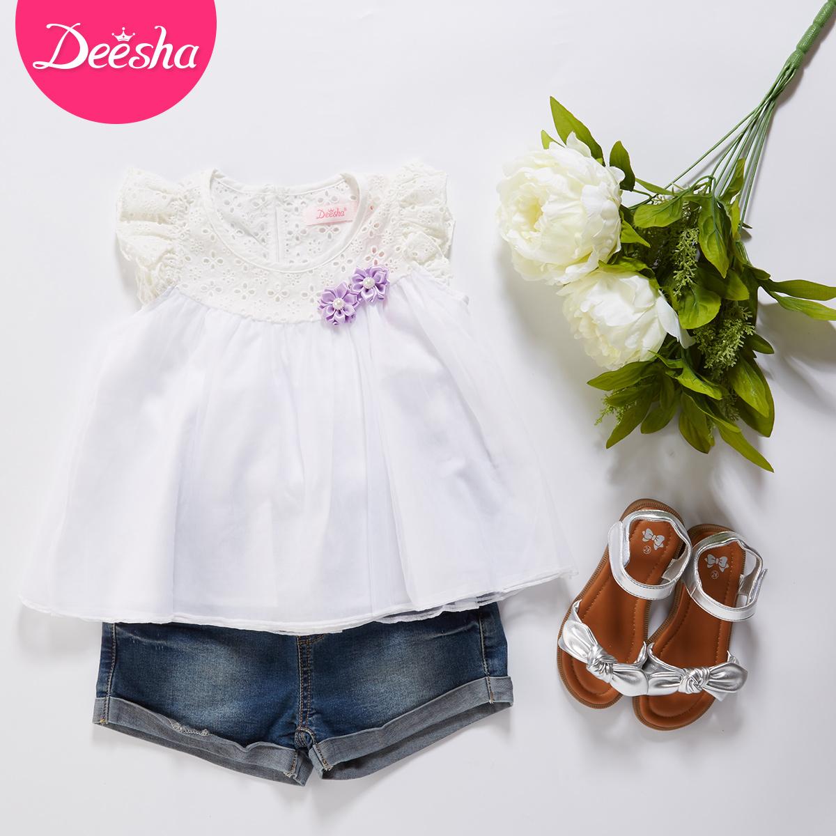 笛莎 女童襯衫 中大童短袖 百搭白色純棉兒童上衣