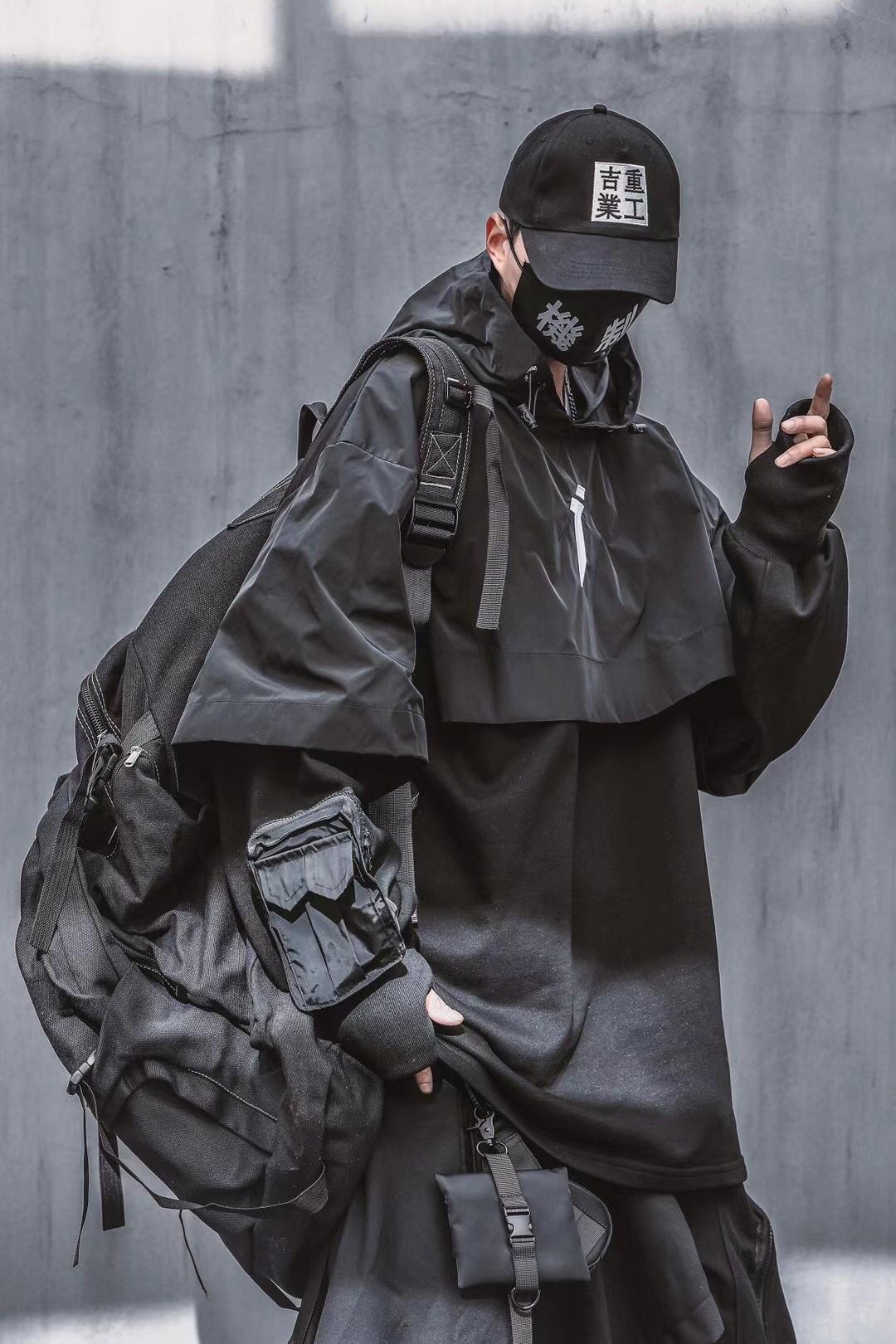 吉业重工双层重叠设计刺绣大版宽松夹克街头嘻哈斗篷式外套小伙子