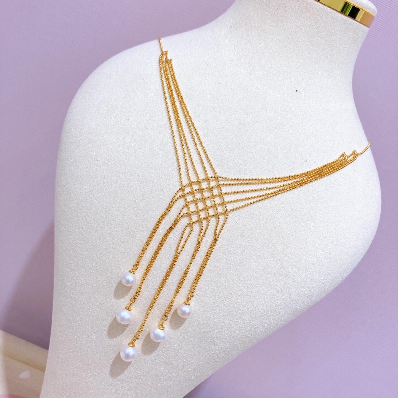 气质长款时尚优雅大气女神蕾丝项链 淡水珍珠流苏2021新款首饰女