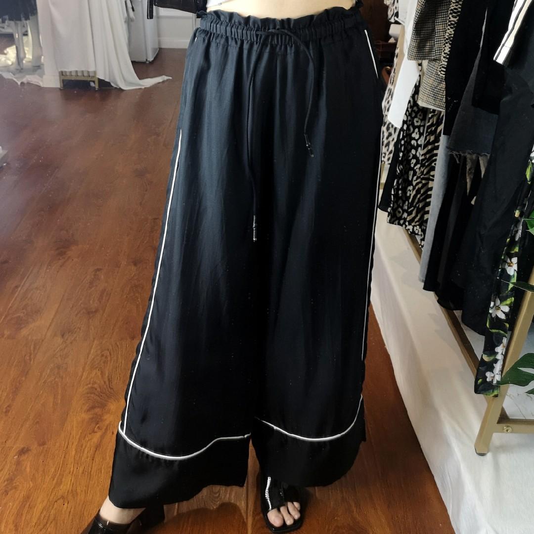 Twill silk wide leg pants womens silk pants high waist down sense suit pants straight mop pants casual color contrast