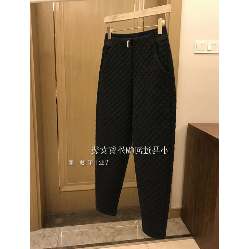 2020 slim modified leg type Black Plaid thickened small Harlem casual pants tapered pants womens new products in autumn and winter