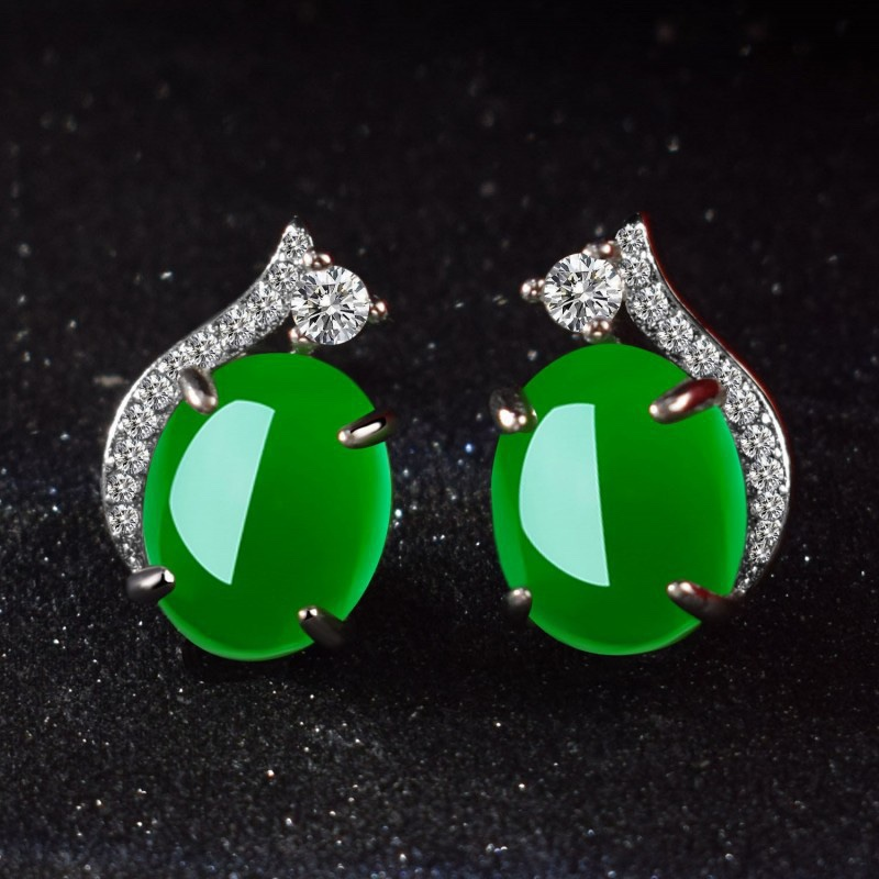 S925 Pure Silver Green Agate Earrings natural emerald female retro emerald chalcedony simple temperament Earrings