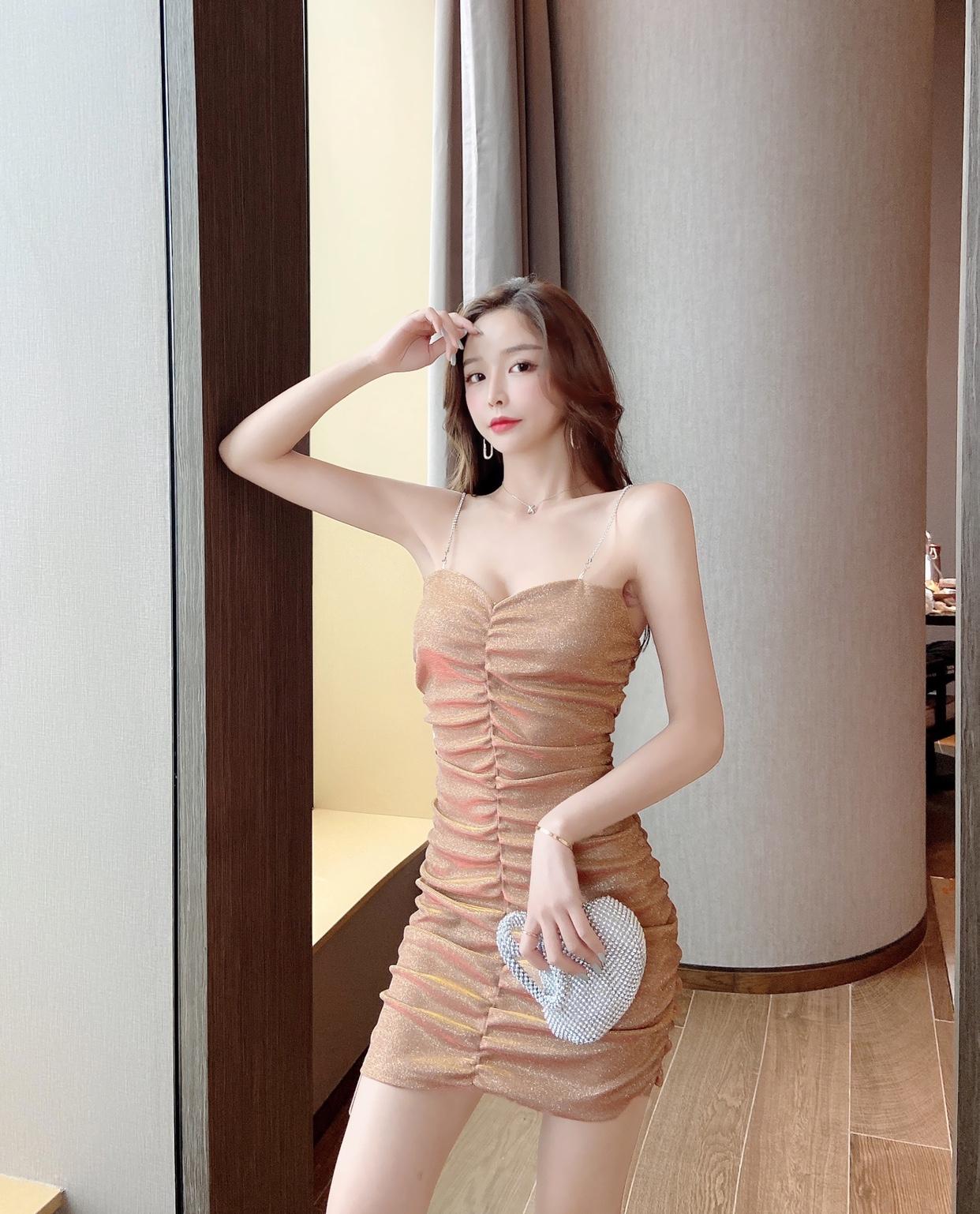 實拍新款控3性感鏈條吊帶Blingbling閃亮包臀褶皺夜店連衣裙