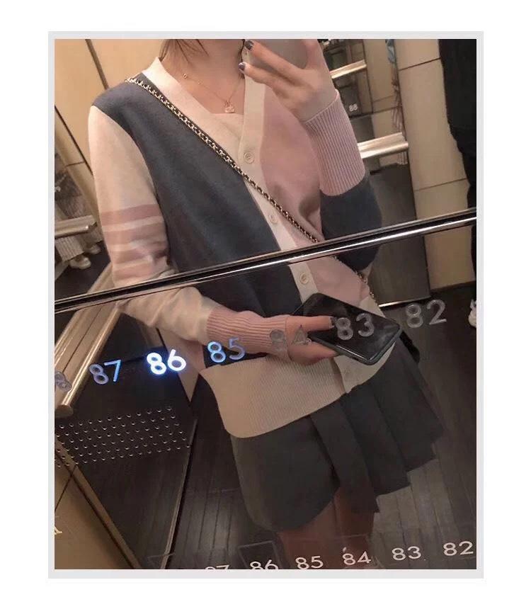 韩版薄款羊绒混纺针织衫时尚显瘦v领温柔拼色开衫条纹学院风外套