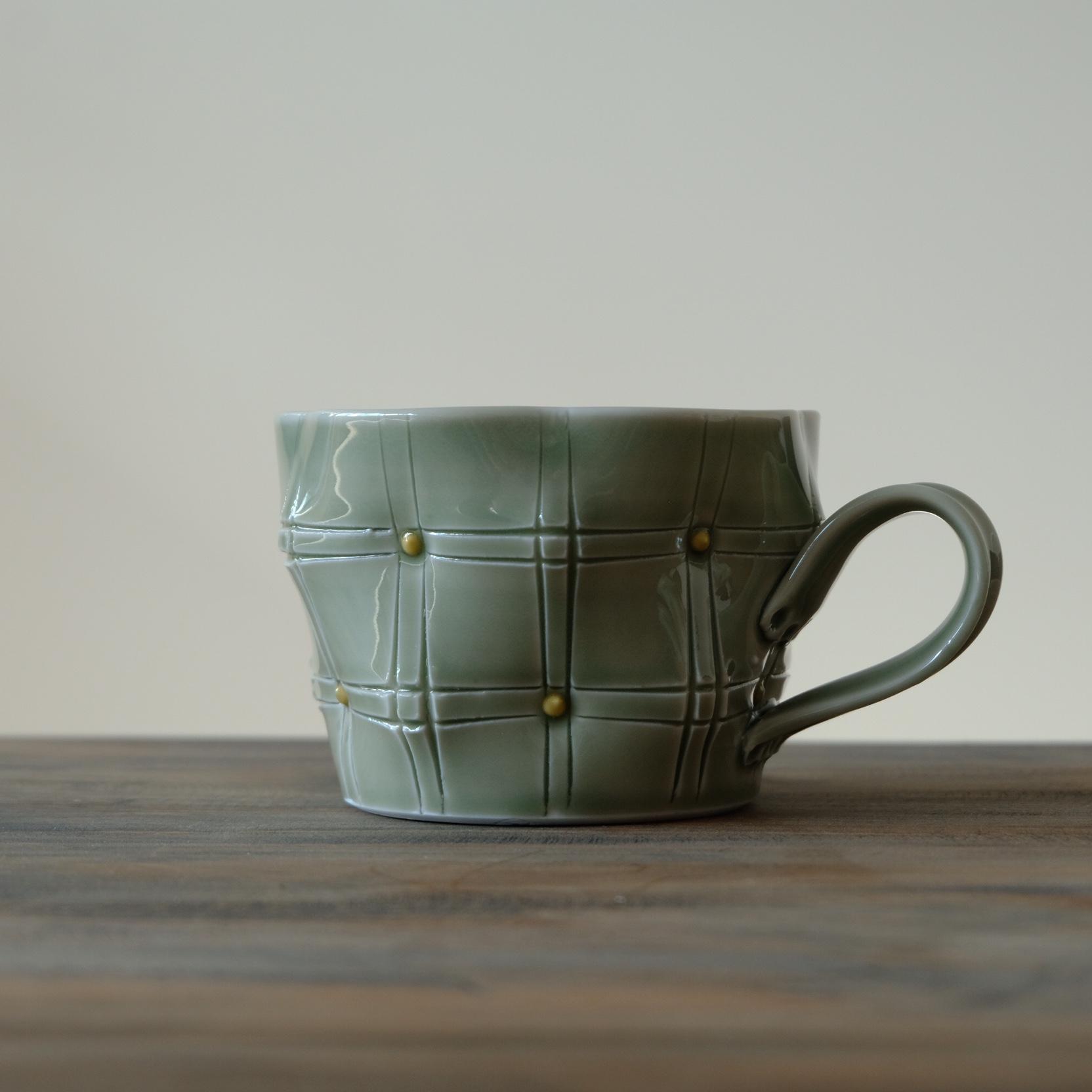 Rongjishang new gengdao brocade line series handmade pottery vessels large capacity coffee cup flower drawing Mug