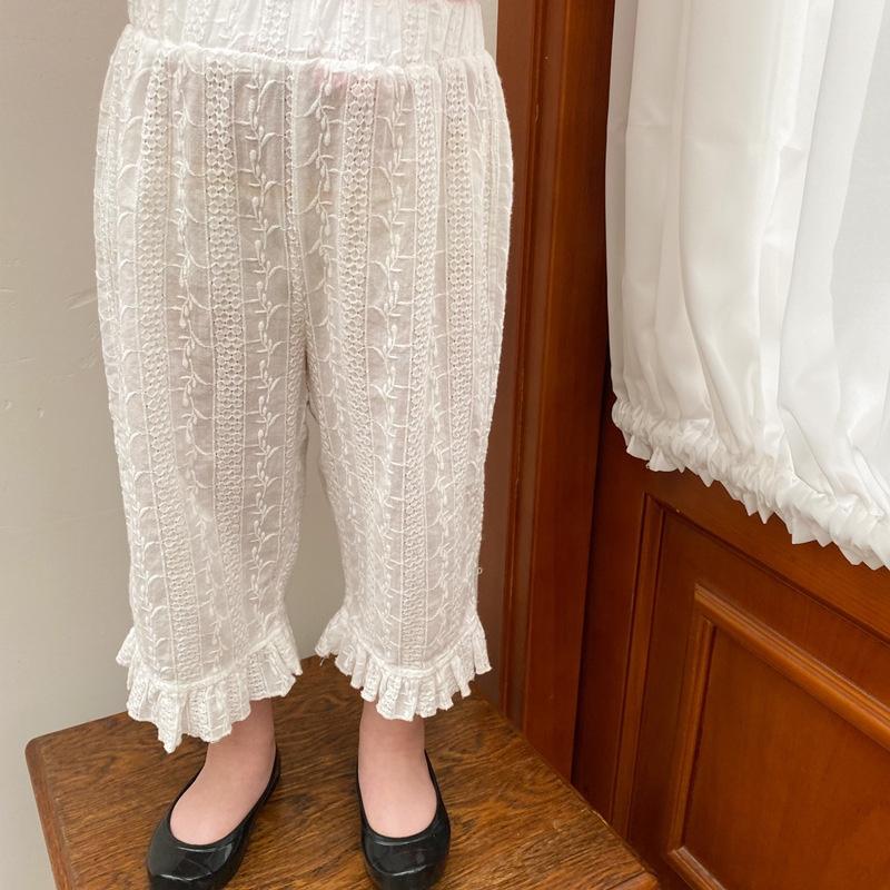 2021 summer Korean girls hollow out full width embroidered Ruffle Pants childrens elastic waist girls pants