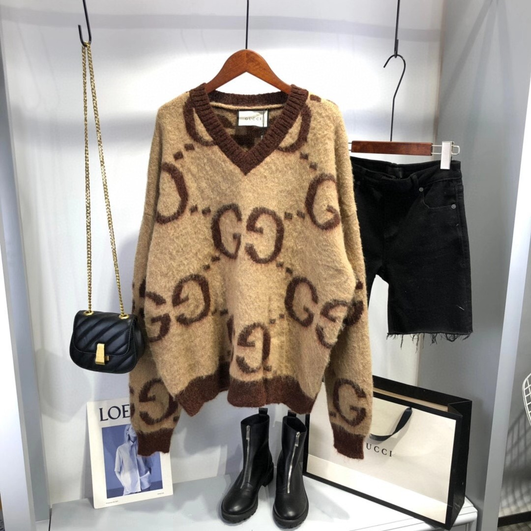 Autumn and winter 2020 new womens round neck Pullover Mohair blended letter sweater Korean loose medium length sweater