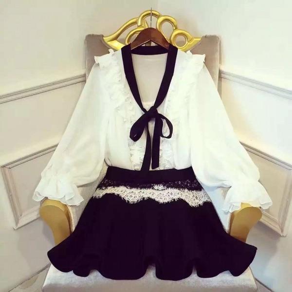Осень/зима высокого класса пользовательских 16 haute couture потерять дворец Ветер рубашку и соответствующие кружева слоеного юбка!