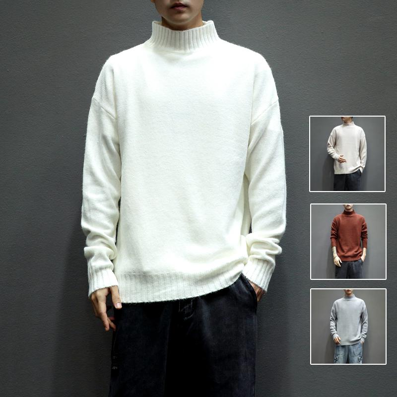 Z5127_P45 日系灰墙~春季新品 男士立领纯色修身大码毛衣 米白