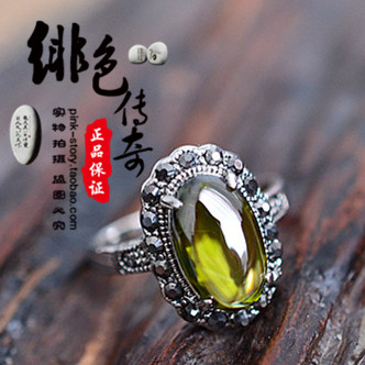 1 Retro court style red gem green gem gorgeous exaggerated ring index finger decoration Female Gothic Lolita