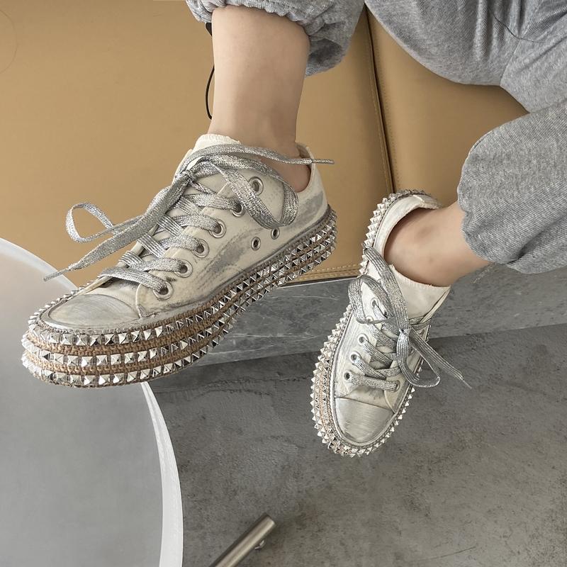 铆钉布鞋黑色女鞋女夏季单鞋女鞋春夏爆款百搭2020新款流行帆布鞋