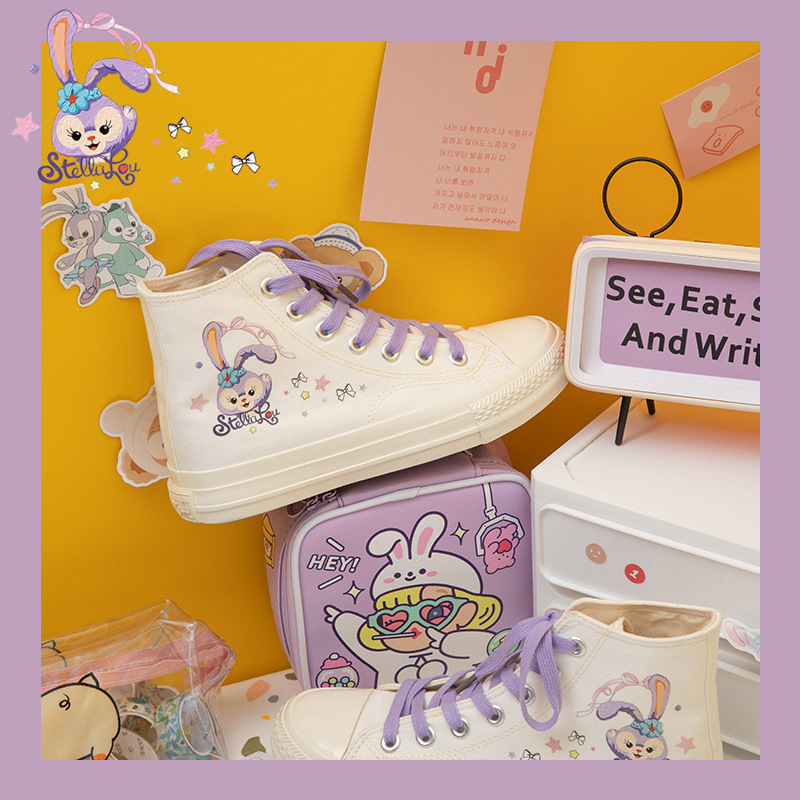 Mustang youth printed canvas shoes womens purple hand-painted high top womens shoes summer shoes children 2020 NEW