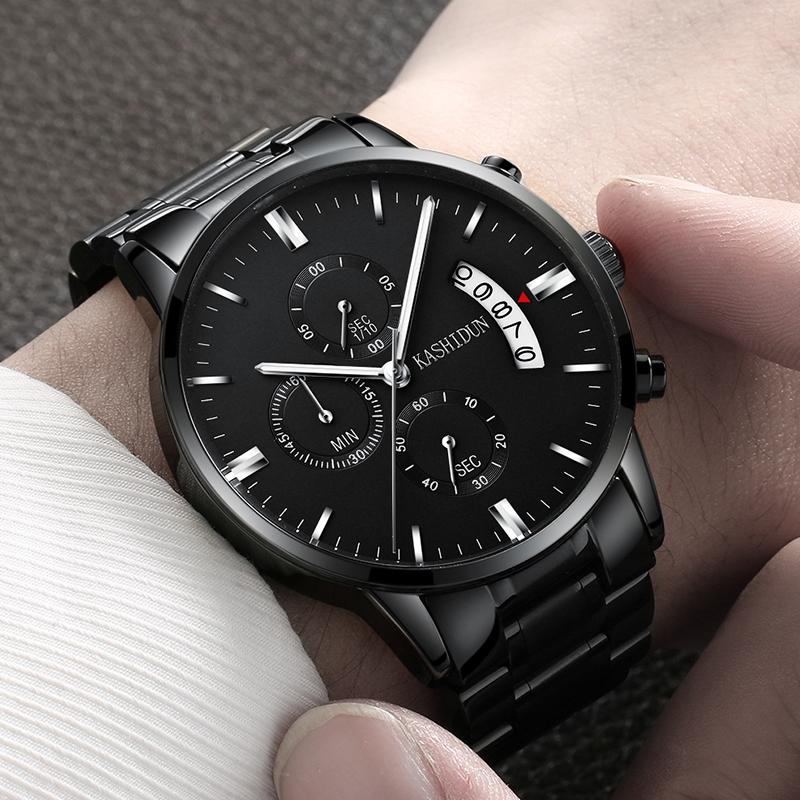 カートン本物の腕時計男性スポーツクオーツ防水ファッションの夜光精鋼腕時計