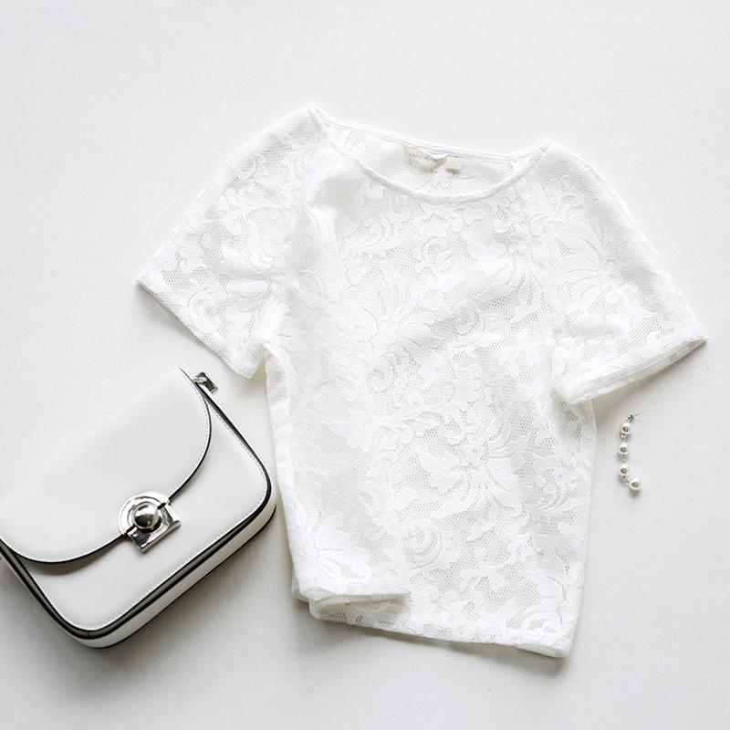 名媛气质套头镂空蕾丝衫 夏装纯色短袖女上衣#日韩时尚女装#
