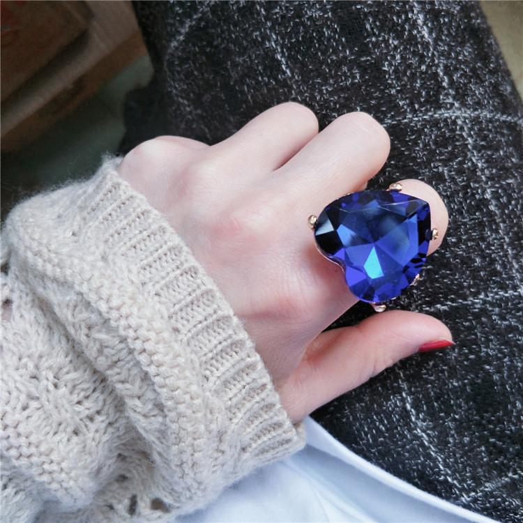 网红个性潮人夸张水晶爱心风戒指环