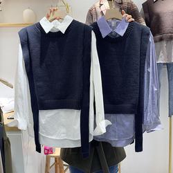 拼接衬衫假两件针织衫秋冬韩版宽松长袖撞色条纹衬衣马甲上衣女装