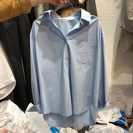 韩国东大门2020秋季新款女装简约宽松百搭气质纯色长袖衬衫上衣潮