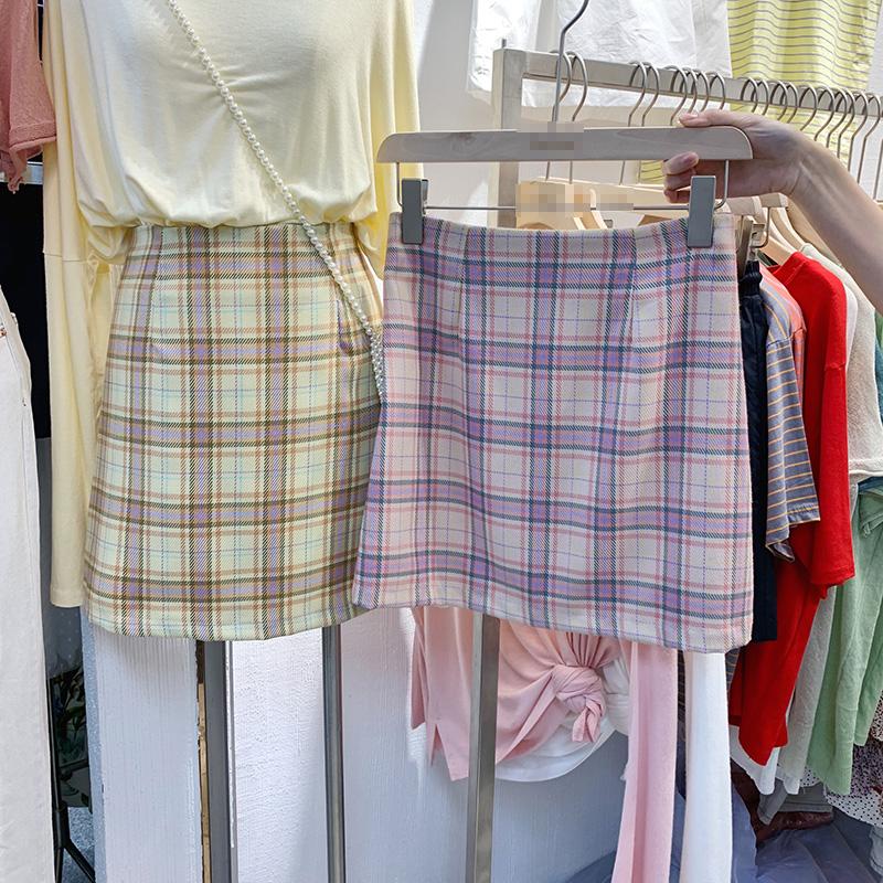 半身裙子女夏2020新款韩版百搭简约高腰气质a字群格子流行短裙潮