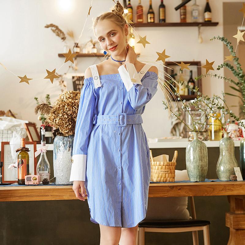 高端女装品牌折扣 LU系列 秋装撤柜正品 宽松撞色一字领连衣裙
