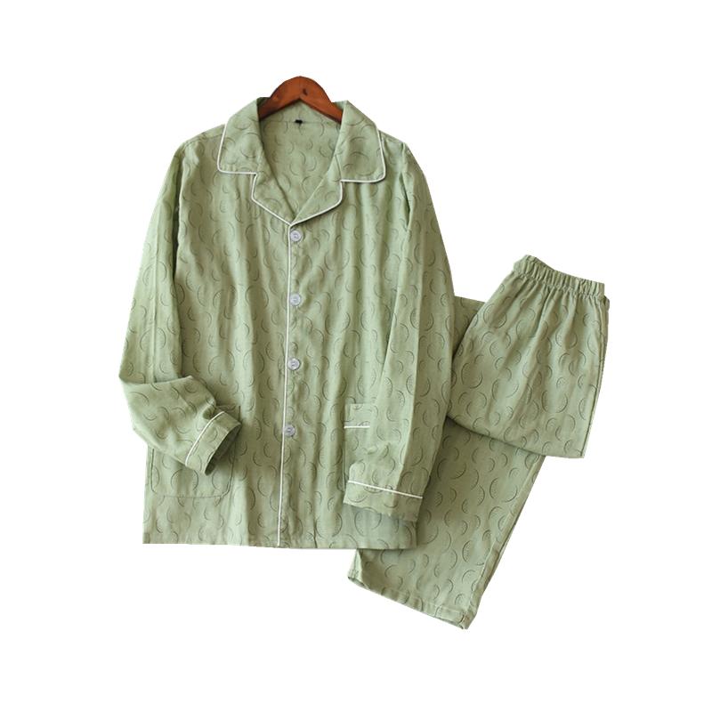 日式男士薄款睡衣长袖长裤套装宽松舒适纯棉双层纱布春夏季居家服