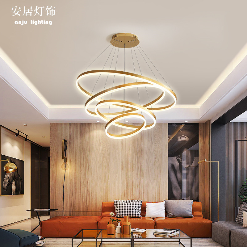 Living room chandelier simple modern inclined top circle ring hall lamp compound staircase led multi-storey long Chandelier