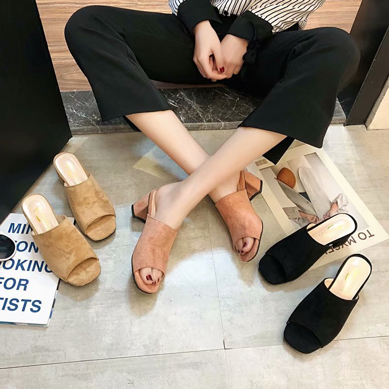 Suede womens sandals 2020 summer and autumn open toe thick heels womens shoes Korean version new commuting fashion flip flops high heels