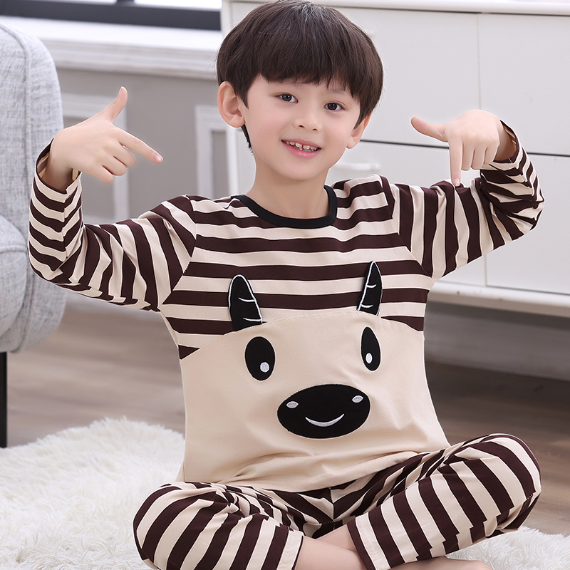 Childrens pajamas boys cotton long sleeve spring autumn cartoon little boys middle and large childrens all cotton home clothes set