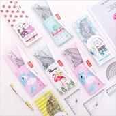 尺子 直尺三角套尺 學生繪圖用品套裝 韓國創意文具卡套小碎花袋裝