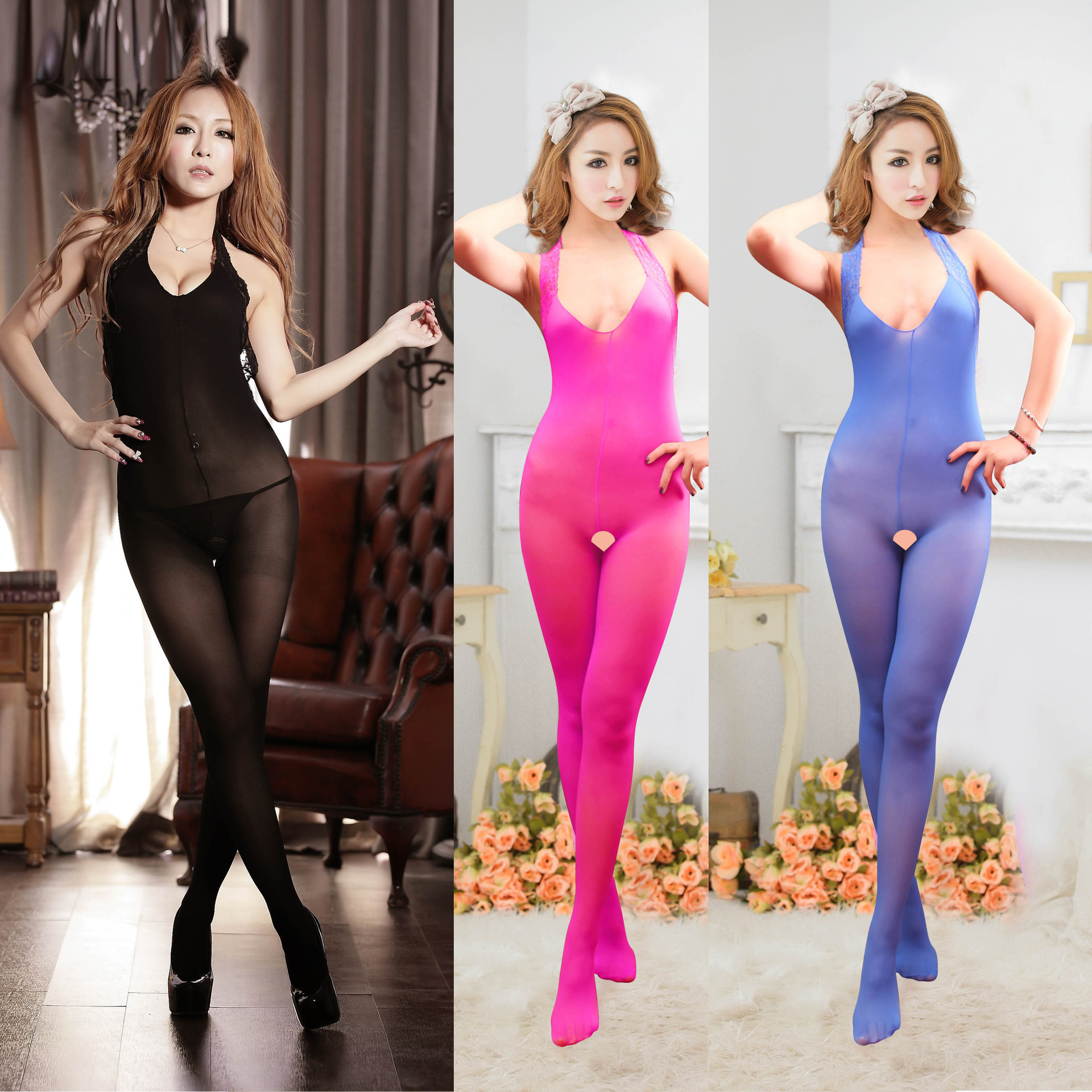 Open file silk stockings lace hanging neck silk clothes stockings pants elastic slim fit one-piece silk stockings temptation one-piece silk stockings clothes