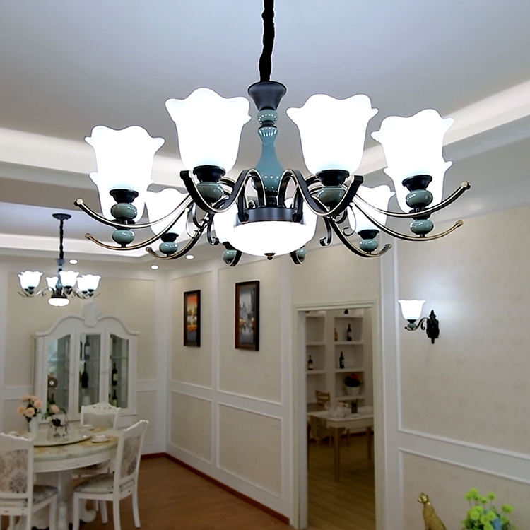 吊灯客厅美式北欧吸吊两用铁艺9218餐厅卧室陶瓷灯具乡村灯饰