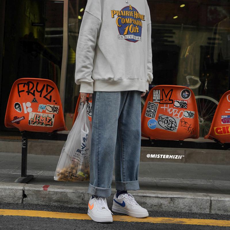 春秋韩版男士chic直筒卷边牛仔裤复古港风潮流青少年哈伦阔腿长裤
