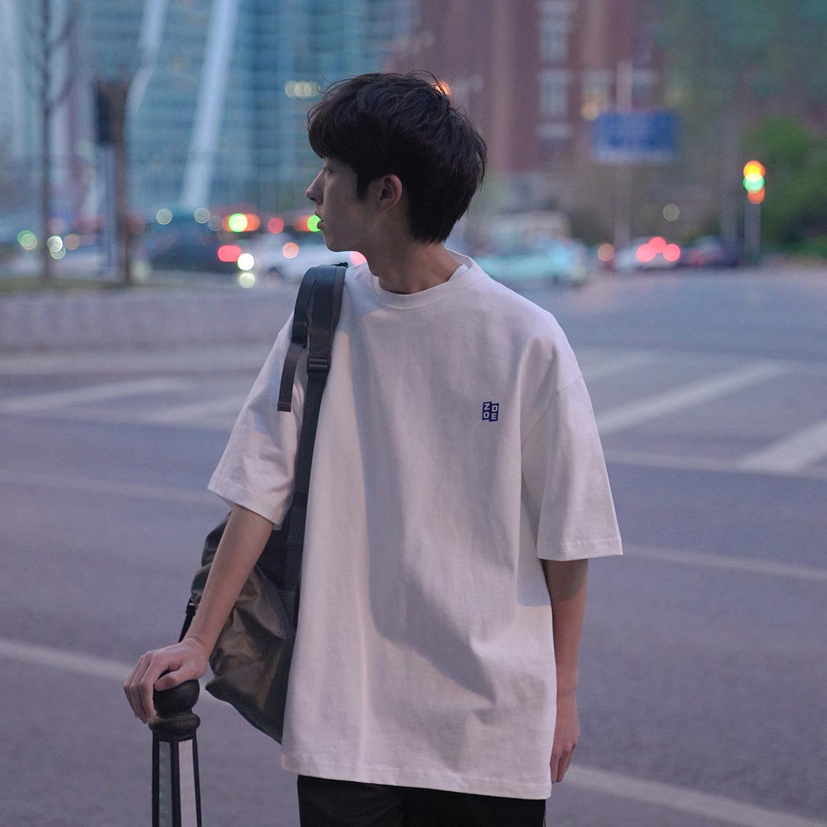 T潮牌学生上衣chicD2021新品男士短袖恤韩版宽松印花落肩半袖港味
