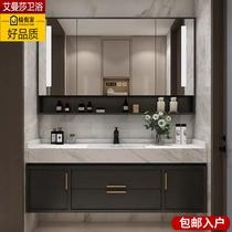 现代轻奢智能浴室柜组合双盆卫生间洗手池洗脸盆柜大理石洗漱台盆